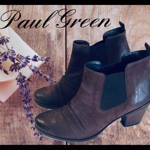 Paul Green Chelsea Bootie Leather Stacked Heel